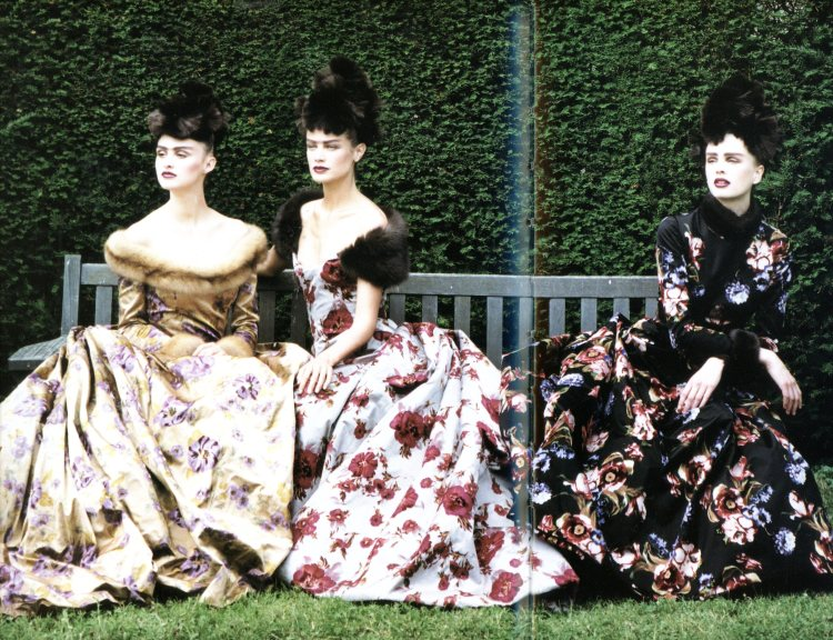 Dresses by Oscar de la Renta for Balmain, photographed by Peter Lindbergh for Vogue 1997