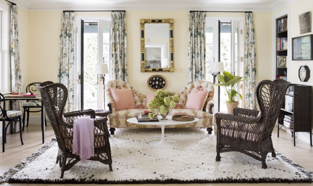 Interior by Tom Sheerer with Lee Jofa's Hollyhock Chintz