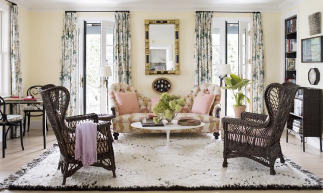 Interior by Tom Sheerer with Lee Jofa's Hollyhock Chintz