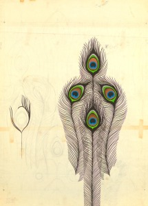 Peacock Drawing for Wallpaper and Textile, Designed by Harvey Smith 1960. Image courtesy of Cooper Hewitt Smithsonian Design Museum.